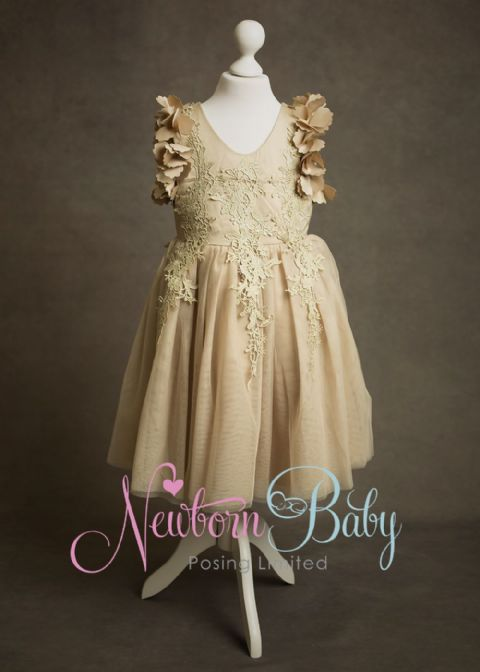 Vintage Style Dress ~ pale gold